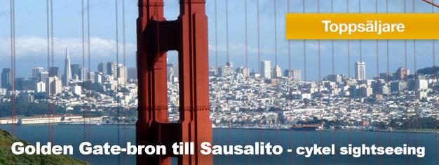 Biljetter till cykeltur från Fisherman's Wharf över Golden Gate-bron till Sausalito San Francisco! Har du tur kan du få se sjölejon och delfiner! Boka nu!