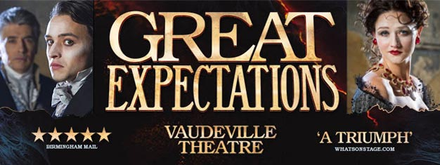 Charles Dickend Great Expectations på Vaudeville Theatre i London. Billetter til Dickens Great Expectations kan bestilles her!