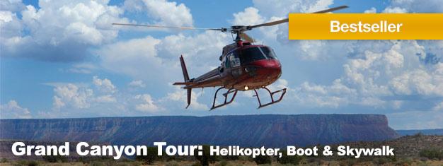 Erleben Sie das Beste des Grand Canyons mit der ultimativen Ganztagestour inklusive eines malerischen Helikopterflugs, einer Bootsfahrt und einem Skywalk! Buchen Sie Ihre Tour hier!