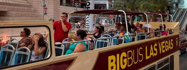 Experience the amazing views of the Las Vegas Strip and Downtown from the top of a London style double decker bus. Buy your Hop-On Hop-Off pass here!