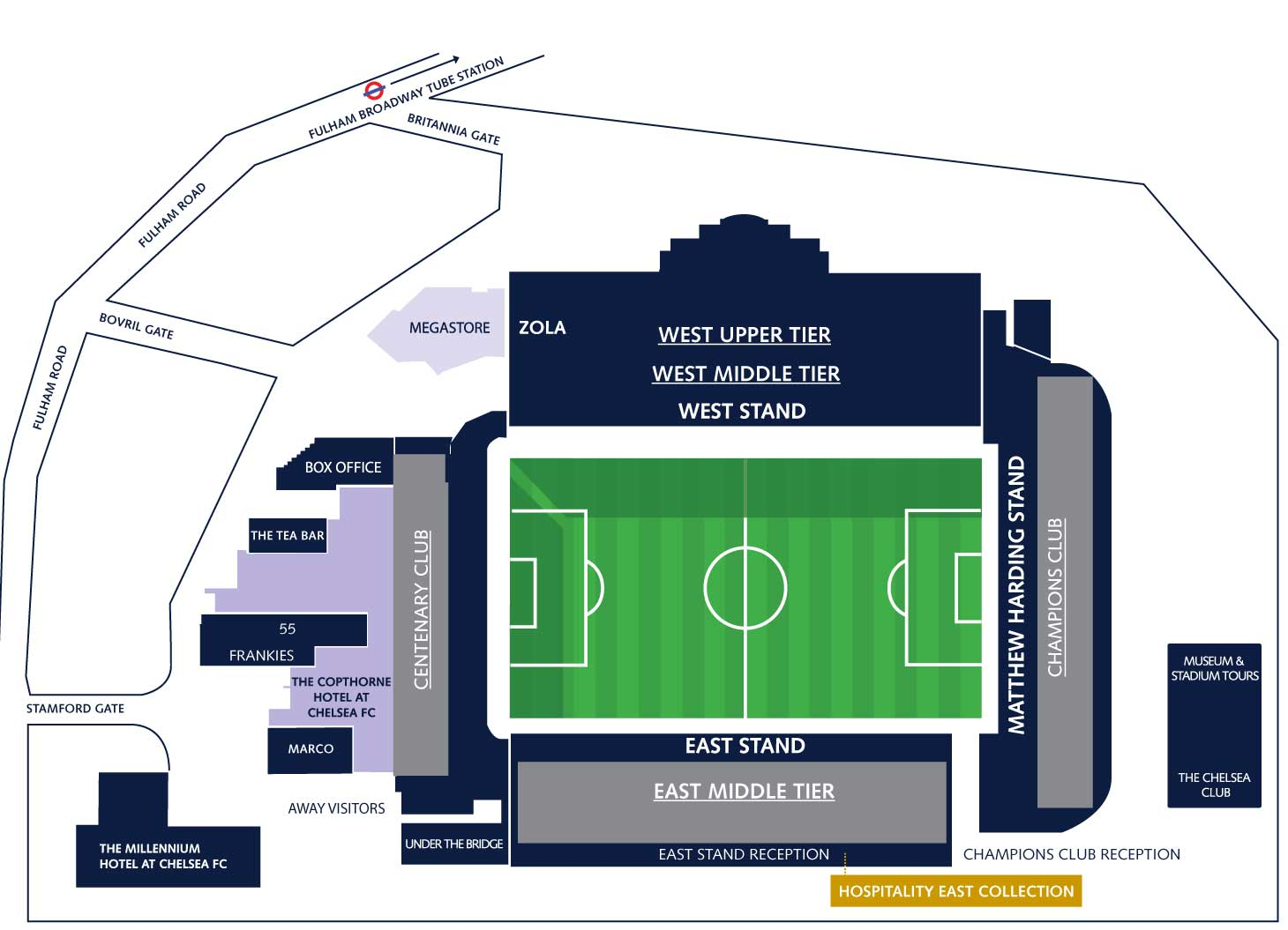 Plano del estadio Stamford Bridge