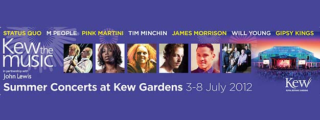 Kew the Musica at Kew Gardens in London 2012 has many legendary artists across rock, pop and jazz performing. Tickets for Kew the Musica in London can be booked here!