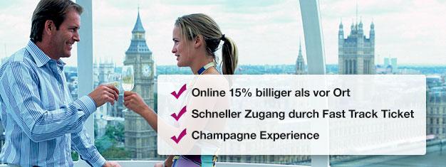 Sparen Sie hier 15% auf Ihre Buchung für das London Eye mit Champagner! Schlange überspringen und dann ein Glas Champagner im Riesenrad genießen! Online buchen!