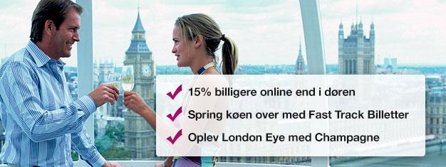Spar 15% når du bestiller dine billetter til London Eye med champagne her! Spring køen over til London Eye & nyd et glas champagne på din tur! Bestil online!