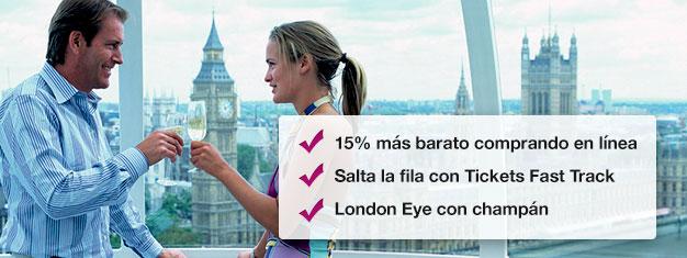 Ahorra un 15% cuando reservas tu entrada al London Eye con champán aquí! Salta las filas al London Eye y disfruta un vaso de champán durante tu paseo! Reserva en línea!