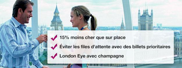 Économisez 15% en réservant votre tour London Eye avec champagne ici! Passez la file d'attente au London Eye et profitez d'un verre de champagne! Réservation en ligne!