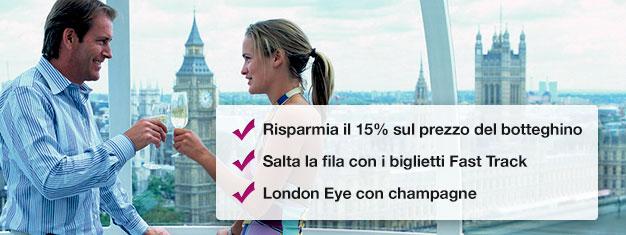 Risparmia il 15% prenotando il tuo biglietto London Eye con champagne qui! Salta la coda e goditi un bicchiere di champagne durante il giro! Prenota online!