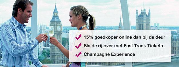 Bespaar 15% en boek tickets voor de London Eye met champagne hier! Sla de wachtrij over voor de London Eye en geniet van een glas champagne! Boek online!