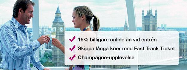 Spara 15 % på priset när du bokar din London Eye biljett med champagne här! Gå före i kön till London Eye och njut av ett glas champagne! Boka online!