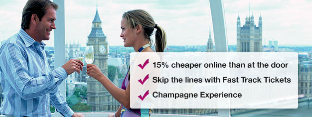 Save 15% when you book your London Eye with champagne here! Skip the line to London Eye and enjoy a glass of champagne on your ride! Book online!