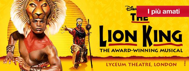 Il Re Leone a Londra è il musical per tutta la famiglia con musiche di Elton John. Acquista qui i tuoi biglietti per l'originale The Lion King - Il Re Leone Disney.