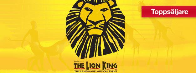 Upplev Lejonkungen på Broadway, musikalfavoriten bland både barn och vuxna. Vinnare av utmärkelsen bästa musikal. Boka biljetter till The Lion King online!