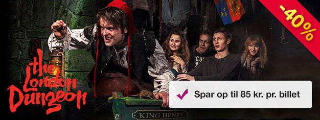 Spar 40% på din indgang til London Dungeon! Tilbuddet gælder kun her og til og med d. 20 december 2017! Med forudbestilte billetter sparer du penge og tid!