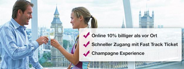 Sparen Sie hier 10% auf Ihre Buchung für das London Eye mit Champagner! Schlange überspringen und dann ein Glas Champagner im Riesenrad genießen! Online buchen!
