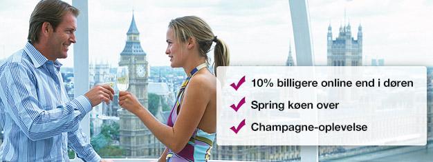 Spar 10% når du bestiller dine billetter til London Eye med champagne her! Spring køen over til London Eye & nyd et glas champagne på din tur! Bestil online!