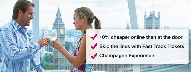 Save 10% when you book your London Eye with champagne here! Skip the line to London Eye and enjoy a glass of champagne on your ride! Book online!
