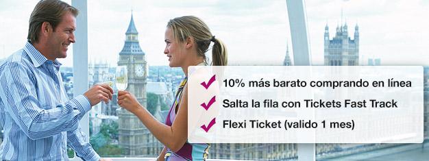 Ahorra un 10% cuando reservas tu entrada al London Eye con champán aquí! Salta las filas al London Eye y disfruta un vaso de champán durante tu paseo! Reserva en línea!