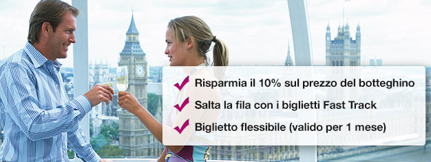 Risparmia il 10% prenotando il tuo biglietto London Eye con champagne qui! Salta la coda e goditi un bicchiere di champagne durante il giro! Prenota online!