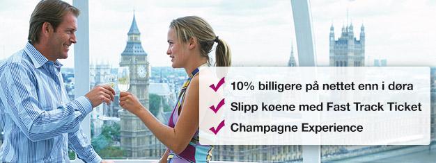 Spar10 % når du bestiller din London Eye medchampagne her! Hopp over køen tilLondon Eye og nyt et glass med champagne på turen din! Bestill på nett!