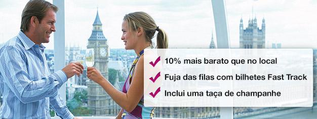 Poupe 10% na compra do seu bilhete com champagne para o London Eye! Entre rapidamente e desfrute de um copo de champagne. Marque online hoje mesmo!