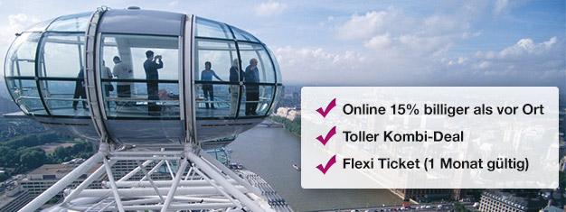 Sparen Sie 15% mit diesem Kombi-Angebot an Tickets für das London Eye und die London Eye Schifffahrt! Heute buchen und 15% auf Ihre Eintrittskarten sparen!