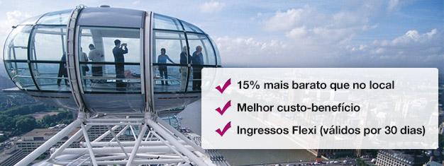 Poupe 15% com este pacote promocional, onde poderá obter bilhetes para o London Eye e para um Cruzeiro no rio Tamisa! Compre hoje!