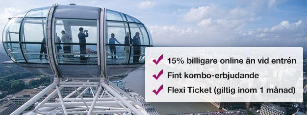 Spara 15% på exklusivt biljettpaket. Kombinera London Eye med en båttur med London Eye River Cruise! Boka på nätet idag och spara 15% på dina biljetter!