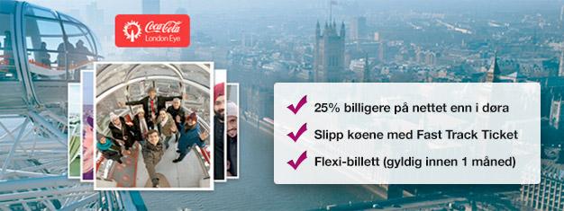Besøk London Eye - med Fast Track-billetter hjemmefra sparer du tid i kø og nesten 25% av prisen sammenlignet med å kjøpe ved inngangen. Kjøp online nå!