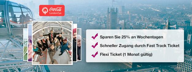 Besuchen Sie das London Eye! Mit Fast Track Tickets mit bevorzugtem Einlass sparen Sie Zeit und bis zu 25% auf ihre Tickets. Online buchen!