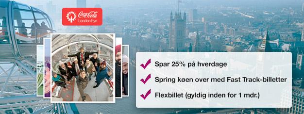 Besøg London Eye! Køb spring-køen-over billetter hjemmefra og spar tid i køen og spar op til 25% af prisen sammenlignet med London Eye. Køb online!