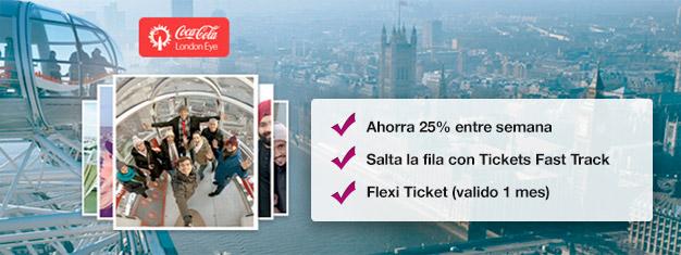 Visita el London Eye!  Reserva entradas Fast Track desde casa y ahorra hasta un 25% comparado con el precio que se paga directamente en el London Eye. Compra en línea!