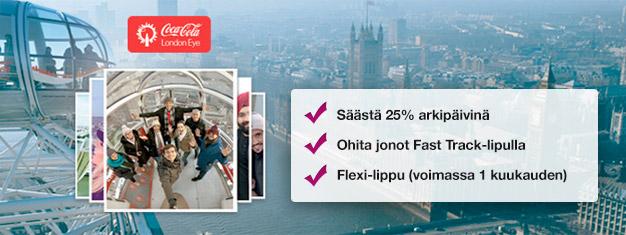 Koe London Eye! Osta Fast Track -liput etukäteen ja säästät aikaa sekä jopa 25% paikan päältä ostettujen lippujen hinnoista. Osta netistä!