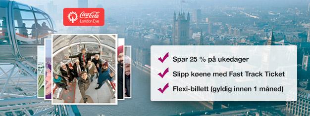 Besøk London Eye! Bestill Fast Track-billetter hjemmefra og spar tid og opptil 25 % på billettprisen sammenlignet med prisen direkte fra London Eye. Kjøp på nettet!