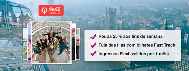 Visita o London Eye com até 25% de desconto em comparação ao preço na bilheteira! Reserva aqui os seus bilhetes Fast Track e ganha tempo (e dinheiro!) na hora do embarque. Compra já!