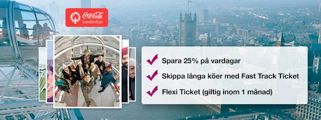 Besök London Eye! Med förbokade biljetter sparar du tid i köerna och upp till 25% av priset jämfört med vid entrén. Boka biljetter på nätet!