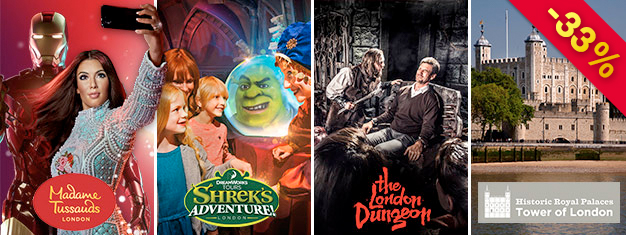 Save 1/3 of the price on Madame Tussauds, London Dungeon, Shrek's Adventure & Tower of London with our super saver London Combo Gold Package! Book online!