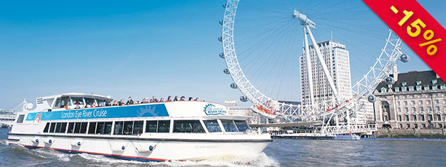Save 15% with this combo deal where you get tickets to London Eye and a London Eye River Cruise! Book today and save 15% on your tickets!