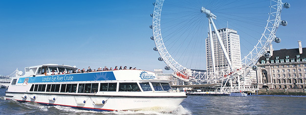 Enjoy this beautiful 40-minute sightseeing cruise on the River Thames and see London! Book a ticket to a River Cruise online!