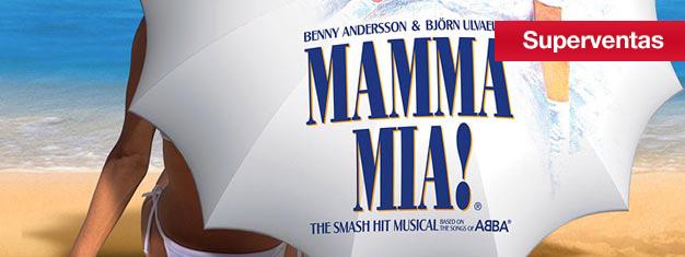 Mamma Mia el Musical en el teatro Novello en Londres con canciones por ABBA. Compra tus entradas para Mamma Mia el Musical en Londres aquí!