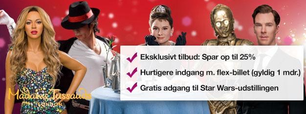 Spring køen over til Madame Tussauds i London med forhåndsbestilte billetter. Spar 35% på billetprisen. Sjov for hele familien! Køb online!