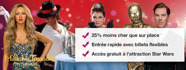 Évitez la queue au Musée de cire de Madame Tussauds à Londres avec nos billets prépayés. Économisez 35% sur vos billets! Amusant pour toute la famille! Achetez en ligne!