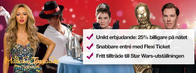Skippa köerna till biljettkassan med förbokade biljetter till Madame Tussauds vaxmuseum i London. Spara 25% på priset! Kul för hela familjen! Köp online!