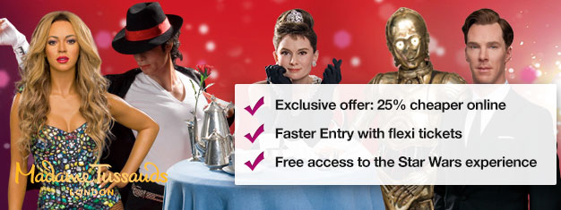 Skip the line to London's Madame Tussauds wax museum with prebooked tickets and save up to 25%! Fun for the whole family.Buy online!