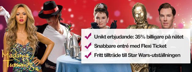 Skippa köerna till biljettkassan med förbokade biljetter till Madame Tussauds vaxmuseum i London. Spara 35% på priset! Kul för hela familjen! Köp online!