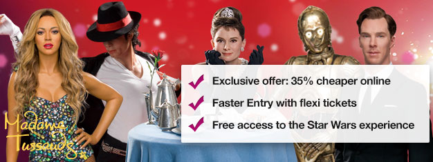 Skip the line to London's Madame Tussauds wax museum with prebooked tickets and save up to 35%! Fun for the whole family.Buy online!