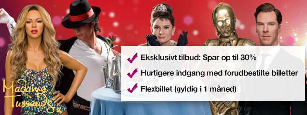 Spring køen over til Madame Tussauds i London med forhåndsbestilte billetter. Spar 30% på billetprisen. Sjov for hele familien! Køb online!