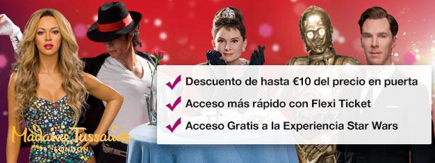 Salta las colas al museo de cera Madame Tussauds de Londres con entradas anticipadas. Ahorra un 35% en las entradas! Diversión para toda la familia! Compra en línea!