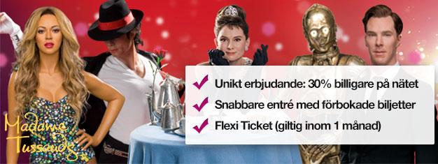 Skippa köerna till biljettkassan med förbokade biljetter till Madame Tussauds vaxmuseum i London. Spara 30% på priset! Kul för hela familjen! Köp online!