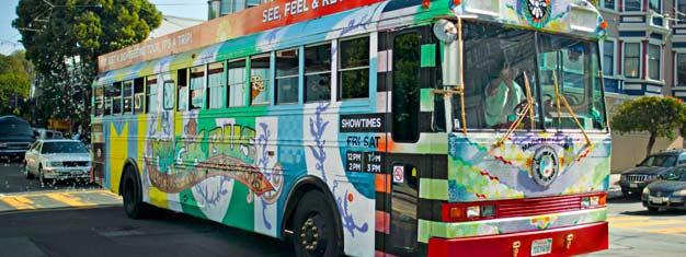 Biljetter Magic Bus San Francisco sightseeing! Välkommen ombord the Magic Bus och res tillbaka till 1960-talet och San Franciscos Summer of Love! Boka på nätet!