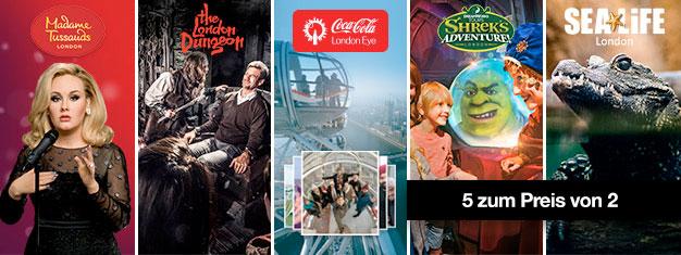 Der beste Deal der Stadt! 2 Attraktionen buchen, 3 gratis erhalten! Madame Tussauds, London Eye, London Aquarium, Shre's Adventure + London Dungeon.